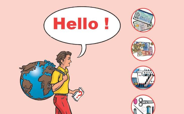 Baptisé «Hello!», le manuel est exclusivement composé d'images qui illustrent les lieux et objets de première nécessité pour les migrants.