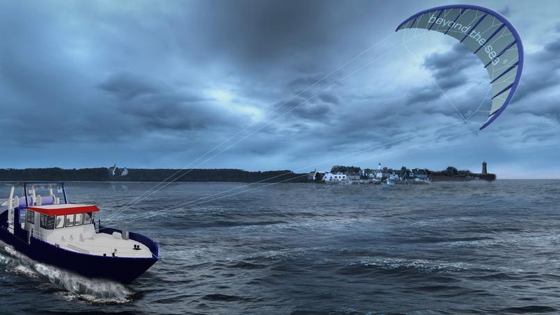il tracte des bateaux avec une voile de kite. Black Bedroom Furniture Sets. Home Design Ideas
