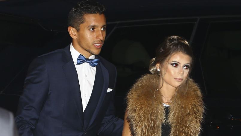 Le Brésilien Marquinhos et sa compagne à l'arrivée au dîner de gala du club.