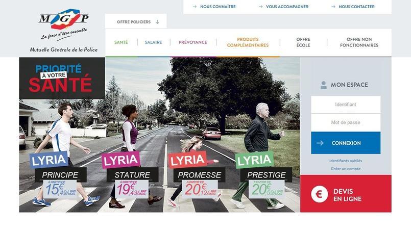 Capture d'écran du site Internet de la Mutuelle générale de la police.