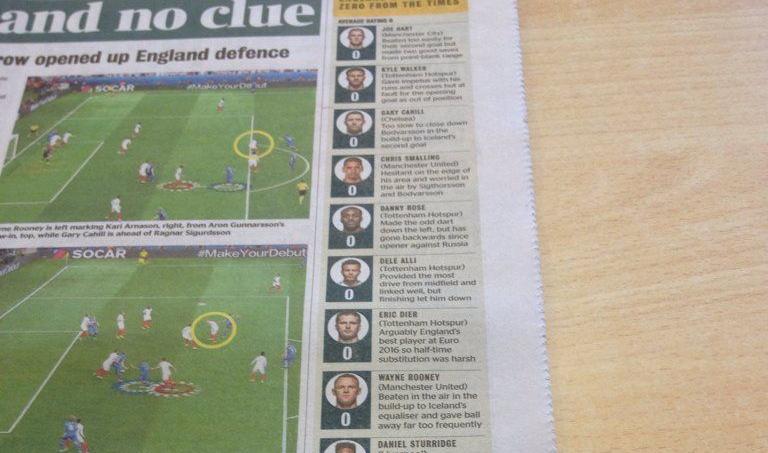 The Times attribue un 0/10 à tous les joueurs anglais