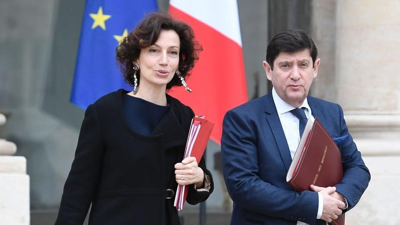 Audrey Azoulay, ministre de la Culture (au côté du ministre de la Ville Patrick Kanner), le 15 mars.