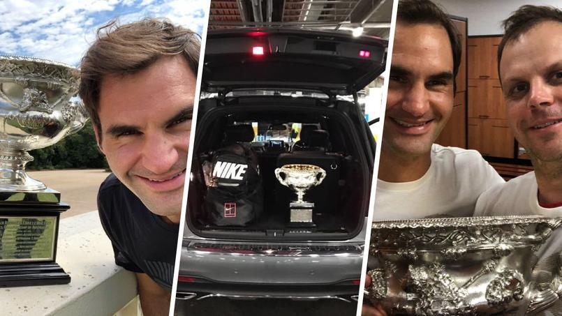 Open d'Australie : Federer met en scène son trophée, «Norman»