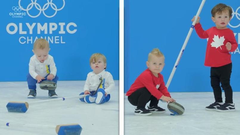Bébés participants aux disciplines olympiques des Jeux d'hiver.