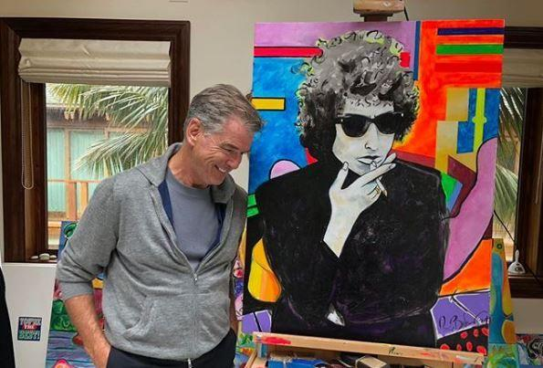 Une Peinture De Pierce Brosnan Representant Bob Dylan Vendue 1 2 Million De Dollars