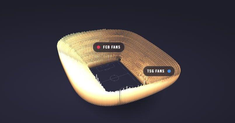 La puissance sonore des supporters modélisée en 3D dynamique