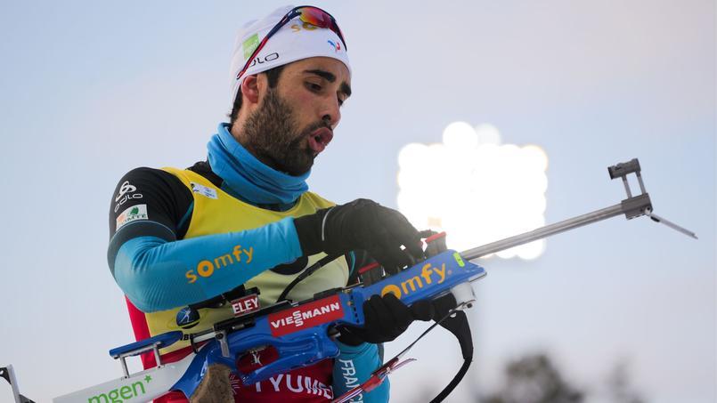 Martin Fourcade à Tioumen, en Russie, lors de la neuvième et dernière épreuve individuelle de la Coupe du monde, le 24 mars 2018.