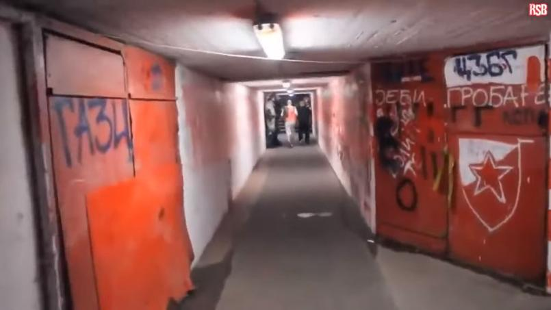 Le tunnel du stade Rajko Mitic, surnommé le «Marakana», stade de l'Étoile Rouge de Belgrade qui reçoit le Paris Saint-Germain en Ligue des champions ce mardi.