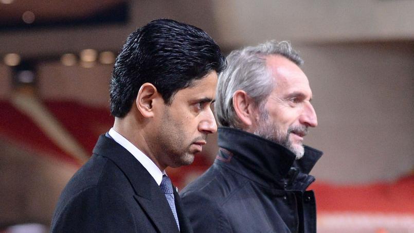 Le président du PSG Nasser Al-Khelaïfi et le directeur général Jean-Claude Blanc.