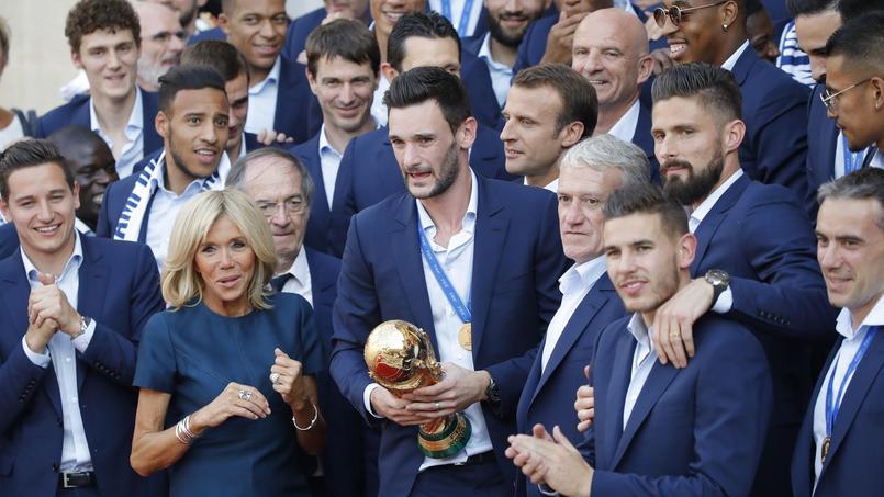 Les Bleus de l'équipe de France reçus à l'Élysée le 16 juillet dernier.