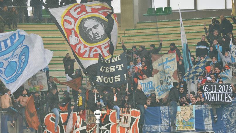 Les supporters de l'OM en déplacement à Saint-Etienne pour le 32e de finale de Coupe de France face à Andrézieux.