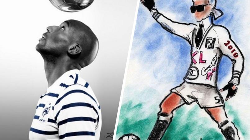 À gauche, la photo de Karl Lagerfeld pour mettre en avant le maillot des Bleus et à droite un autoportrait en 2013.
