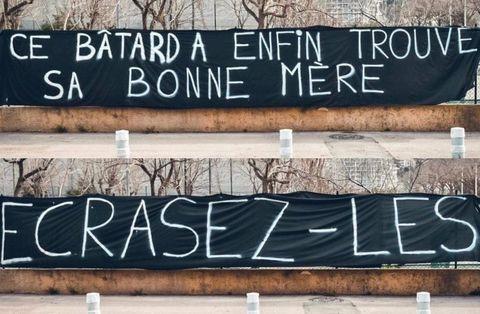 La banderole insultante déployée par des ultras niçois.