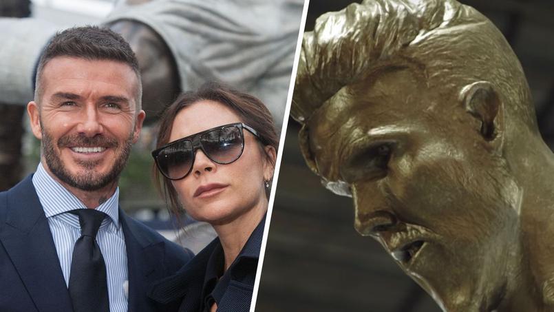 Le couple Beckham à l'inauguration de la statue de l'ancien joueur à Los Angeles et à droite, la fausse statue.