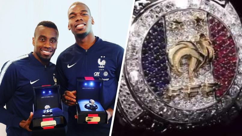 Blaise Matuidi et Paul Pogba posent avec la bague de champions du monde 2018.