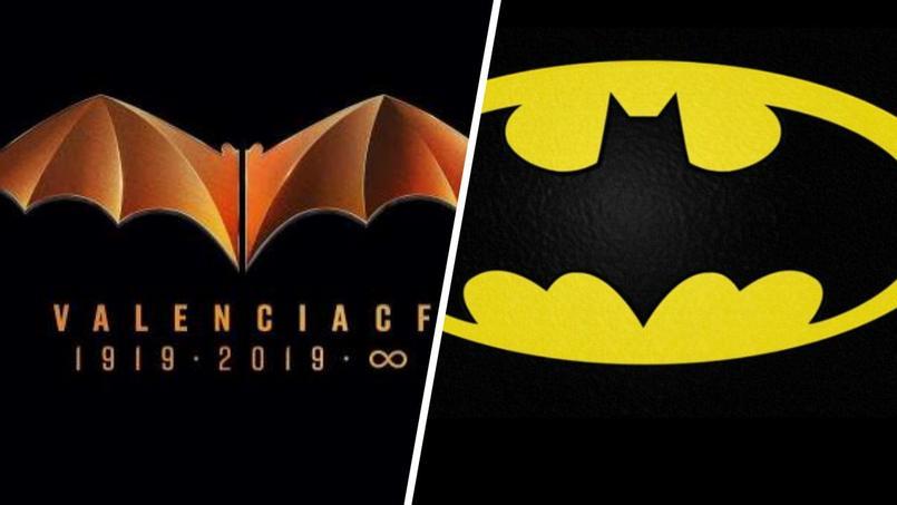 A gauche, le logo centenaire du FC Valence et à droite l'un des logos du célèbre personnage de fiction.