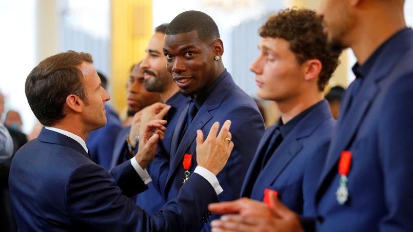 Les Bleus lors de la cérémonie à l'Elysée