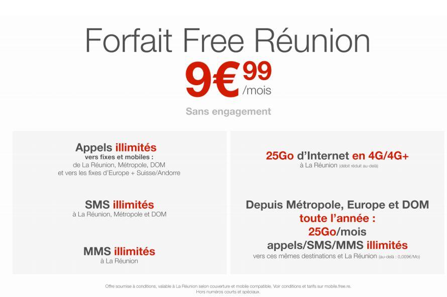 forfait free mobile a la reunion