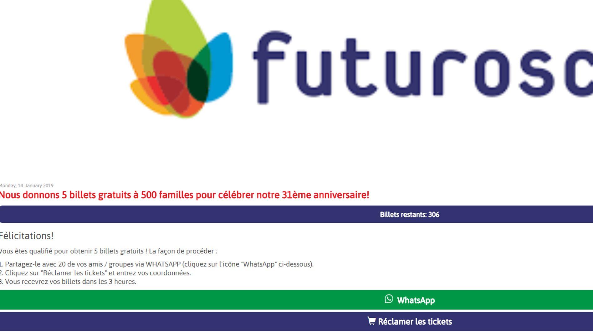 Arnaque Sur Whatsapp Pas De Billets Gratuits Pour Les Parcs D
