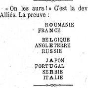 17 octobre 1916: les Alliés croient à la victoire grâce à des jeux de lettres