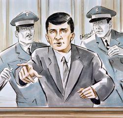 Croquis représentant Luc Tangorre au cours de son deuxième procès, où il fut condamné à 18 ans de prison.