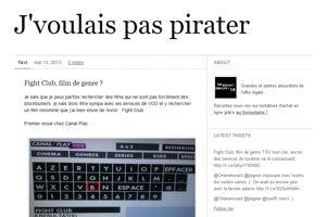 Capture d'écran du Tumblr <i>J'voulais pas pirater (15/05/2013)</i>
