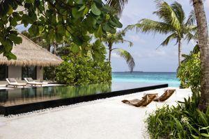 L'hôtel Cheval Blanc sur l'île de Randheli aux Maldives.