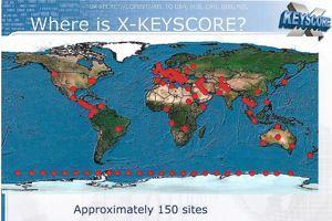 Carte des sites de collecte de XKeyscore