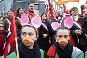Près de 900 emplois sont menacés dans le Finistère dans les abattoirs de Gad. (Crédit: Signatures/Thierry Pasquet)