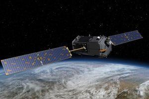 Dessin d'artiste du satellite OCO-2 en orbite. (Crédits photo: NASA, JPL-Caltech)