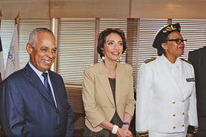 La ministre des Affaires sociales et de la Santé, Marisol Touraine, l'ex-ministre de l'Outre-Mer, Victorin Lurel, et le préfet de la Guadeloupe, Marcelle Pierrot, jeudi, à Pointe-à-Pitre.