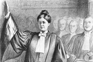 Jeanne Chauvin (1862-1926), première femme avocate française prêtant serment le 7 décembre 1900, dessin par Louis Sabattier.