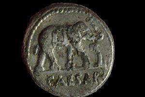 Le denier de la République romaine, frappé d'un éléphant, symbole de Jules César.