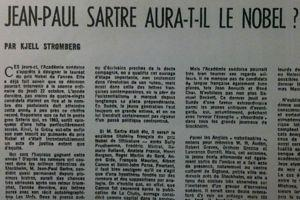 Jean-Paul Sartre aura-t-il le Nobel? s'interroge le <i>Figaro littéraire</i> le 15 octobre 1964.