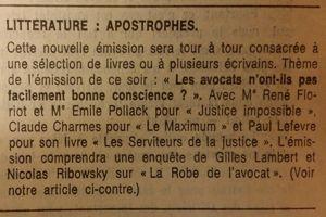 Extrait du programme télé du <i>Figaro</i> du 10 janvier 1975.