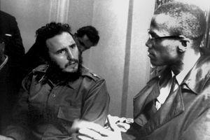 Fidel Castro ( à gauche), chef de l'etat cubain et Malcolm X en septembre 1960.