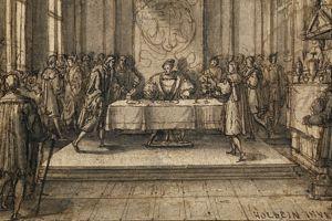 <i>Henri VIII dînant dans ses appartements</i>, entourage de Holbein le Jeune, vers 1548.