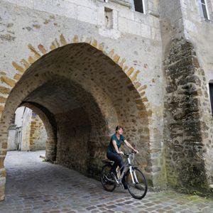 Mortagne-au-Perche, une étape cycliste sur la Voie verte.