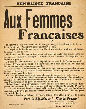 Appel de René Viviani aux femmes françaises le 6 août 1914.