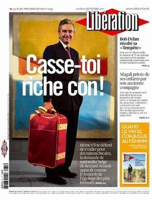 La Une de Libération, le 10 septembre 2012.