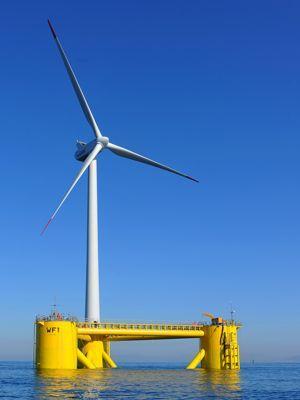 Dans le projet Windfloat, l'éolienne repose à un angle de la barge.