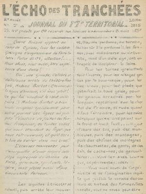 Une du journal l'Echos des tranchées du 10 mai 1915 retranscrivant la lettre de Julia Bartet aux poilus.