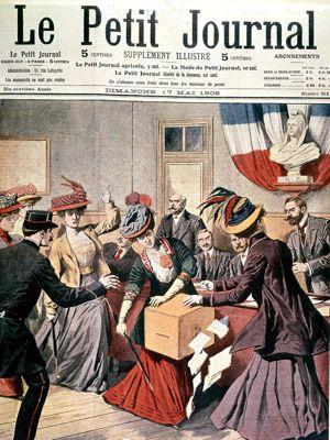 Le «Le Petit Journal» du 17 mai 1908: les suffragettes envahissent une section de vote et s'emparent de l'urne électorale.