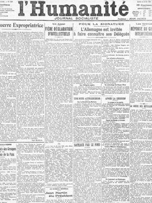 L'appel de Romain Rolland: <i>Fière déclaration d'intellectuels</i> paru en Une de de l'<i>Humanité</i> du 26 juin 1919. <i></i>