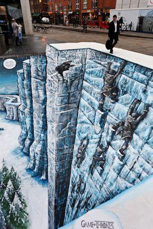 Le mur du nord réalisé en trompe l'œil en pleine rue, à Bishop 's Square à Londres.