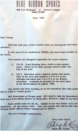 La lettre envoyée en juin 1965 par Phil Knight à tous les coachs sportifs des universités américaines.
