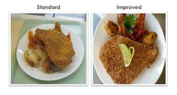 Deux présentations d'un même plat ; à gauche, l'assiette standard ; à droite, l'assiette améliorée