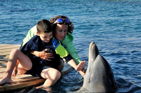 La thérapeute doit réussir à tisser le lien entre l'enfant et le dauphin, petit à petit.