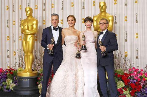 Les quatre acteurs lauréats du cru 2013: Daniel Day-Lewis, Jennifer Lawrence, Anne Hathaway et Christoph Walz