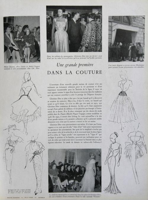 Article paru dans l' <i>Album du Figaro </i><i>- Printemps 1947</i> à l'occasion du premier défilé de la maison de couture de Christian Dior le 12 févier 1947: croquis déssinés par le couturier, ayant servi de point de départ à toute sa collection.